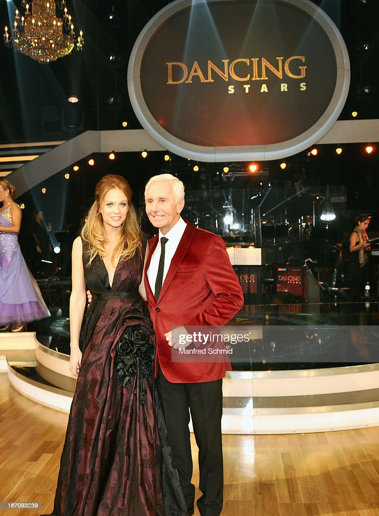 Mirjam Weichselbraun and Klaus Eberhartinger attend the TV Show 'Dancing Stars' at ORF Centeron April 19, 2013 in Vienna, Austria.