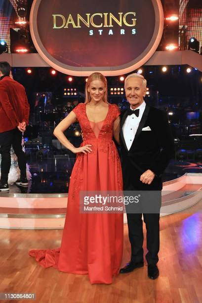 "Mirjam Weichselbraun and Klaus Eberhartinger pose during the ""Dancing Stars 2019"" kick off event on March 15, 2019 in Vienna, Austria. ""Dancing..."