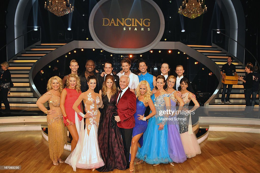 Mirjam Weichselbraun and Klaus Eberhartinger pose with other contestants attend the TV Show 'Dancing Stars' at ORF Centeron April 19, 2013 in Vienna, Austria.