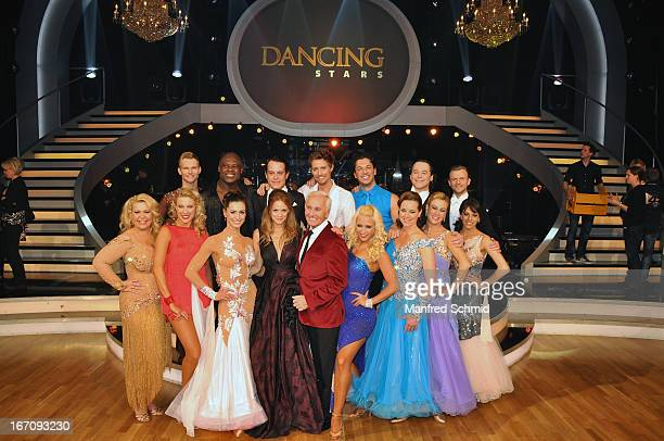 Mirjam Weichselbraun and Klaus Eberhartinger pose with other contestants attend the TV Show 'Dancing Stars' at ORF Centeron April 19 2013 in Vienna...