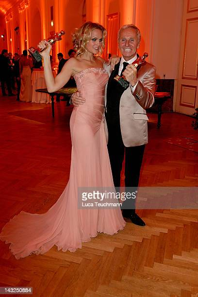 Mirjam Weichselbraun and Klaus Eberhartinger poses with his awards the 23nd KURIER ROMY Gala at the Hofburg on April 16 2011 on April 21 2012 in...