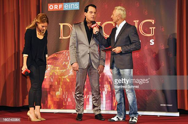 Mirjam Weichselbraun and Klaus Eberhartinger present Gregor Glanz as a contestant at a press conference during the eighth season of TV show 'ORF...