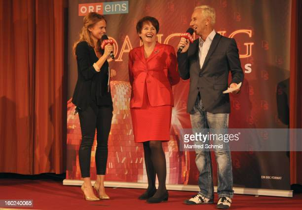 Mirjam Weichselbraun and Klaus Eberhartinger present Monika Salzer as a contestant at a press conference during the eighth season of TV show 'ORF...