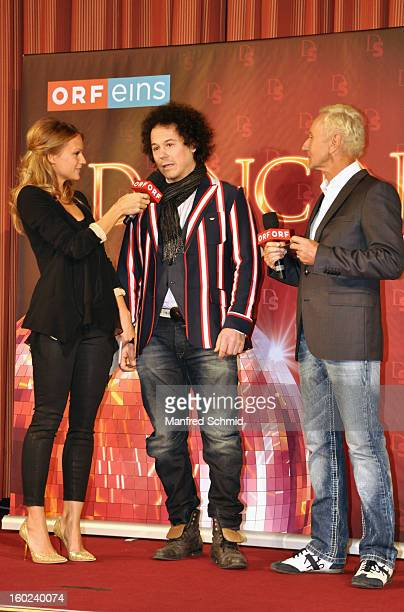 VIENNA AUSTRIA JANUARY 28 Mirjam Weichselbraun and Klaus Eberhartinger present Rainer Schoenfelder as a contestant at a press conference during the...