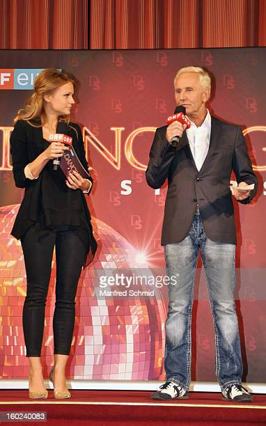 Mirjam Weichselbraun and Klaus Eberhartinger present the dance partners at a press conference during the eighth season of TV show 'ORF Dancing Stars...