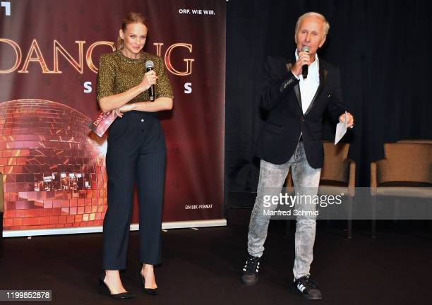 "Mirjam Weichselbraun and Klaus Eberhartinger speak during the ""Dancing Stars"" kick-off event at Ballsaal Wien on February 10, 2020 in Vienna, Austria."