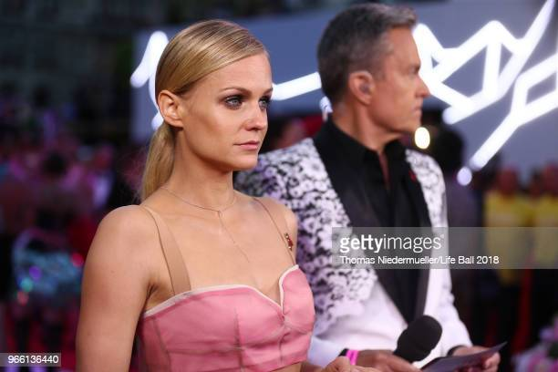 Mirjam Weichselbraun arrives for the Life Ball 2018 at City Hall on June 2, 2018 in Vienna, Austria. The Life Ball, an annual charity event raising...
