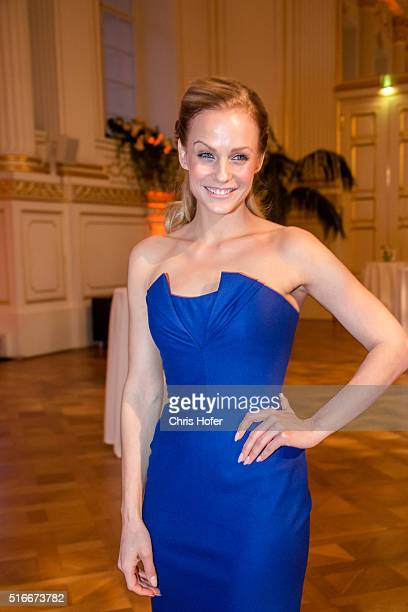Mirjam Weichselbraun attends Karl Spiehs 85th birthday celebration on March 19, 2016 in Vienna, Austria.