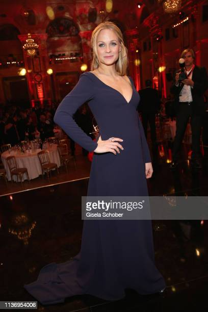 Mirjam Weichselbraun, pregnant, during the ROMY award at Hofburg Vienna on April 13, 2019 in Vienna, Austria.