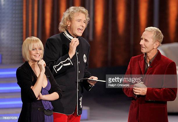 Mirjam Weichselbraun, TV host Thomas Gottschalk and musician Klaus Eberhartinger attend the live-broadcast of his German TV show 'Wetten, dass..?' at...