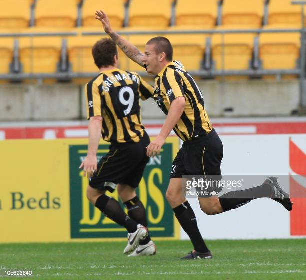 Mirjan Pavlovic of the Phoenix celebrates a goal during the round 10 A-League match between the Wellington Phoenix and the Melbourne Heart at Westpac...