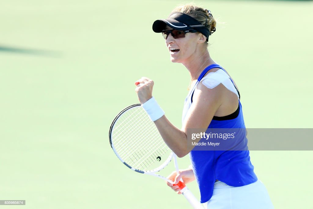 Mirjana Lucic-Baroni of Croatia celebrates during her match against Anett Kontaveit of Estonia during Day 3 of the Connecticut Open at Connecticut Tennis Center at Yale on August 20, 2017 in New Haven, Connecticut.