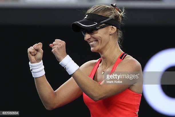 Mirjana LucicBaroni of Croatia celebrates winning her second round match against Agnieszka Radwanska of Poland on day four of the 2017 Australian...