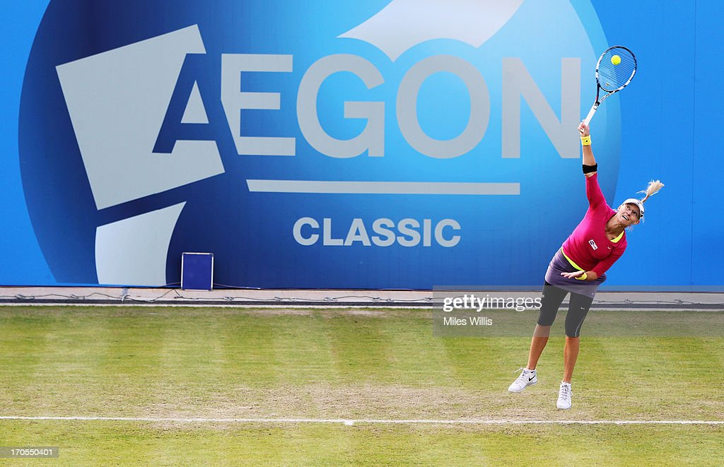 Mirjana Lucic-Baroni of Croatia serves in her Women's Singles third round match against Sabine Lisicki of Germany during day five of the AEGON Classic tennis tournament at Edgbaston Priory Club on June 13, 2013 in Birmingham, England.
