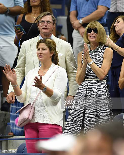 Mirka Federer and Anna Wintour attend day 10 of the 2015 US Open at USTA Billie Jean King National Tennis Center on September 9 2015 in New York City
