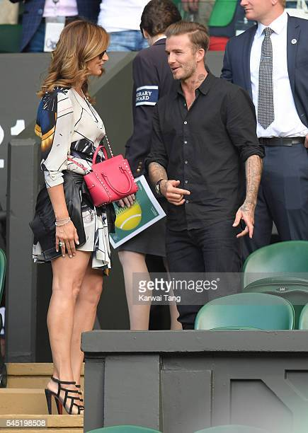 Mirka Federer and David Beckham attend day nine of the Wimbledon Tennis Championships at Wimbledon on July 06, 2016 in London, England.