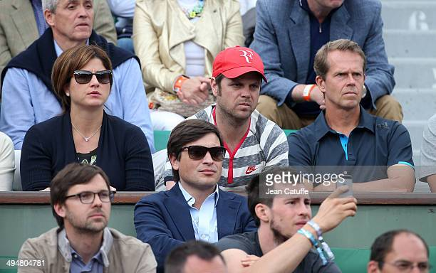 Mirka Federer and Federer coaches Severin Luthi and Stefan Edberg attend Day 6 of the French Open 2014 held at RolandGarros stadium on May 30 2014 in...