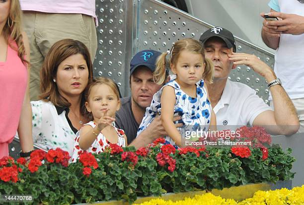 Mirka Federer and her twindaughters Myla Rose and Charlene Riva attend Mutua Madrilena Madrid Open on May 13 2012 in Madrid Spain