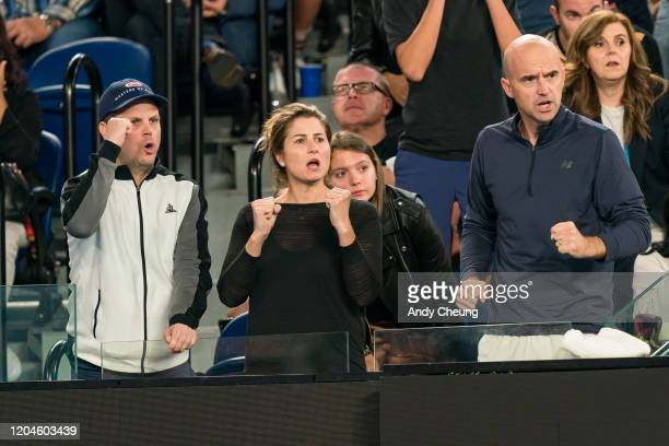 Mirka Federer and Ivan Ljubicic reacts during the Men's Singles match between Roger Federer of Switzerland and John Millman of Australia on day five...