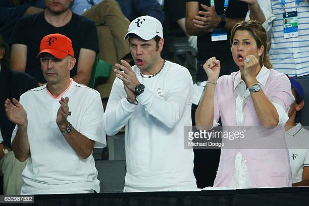 Mirka Federer and Severin Luthi watch the Men's Final match between Roger Federer of Switzerland and Rafael Nadal of Spain on day 14 of the 2017...