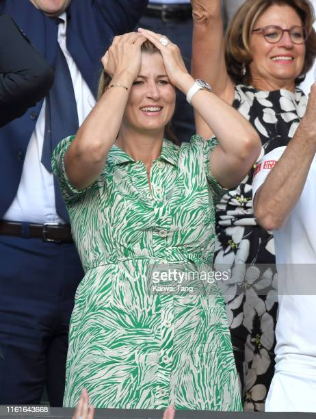 Mirka Federer attends day eleven of the Wimbledon Tennis Championships at All England Lawn Tennis and Croquet Club on July 12 2019 in London England