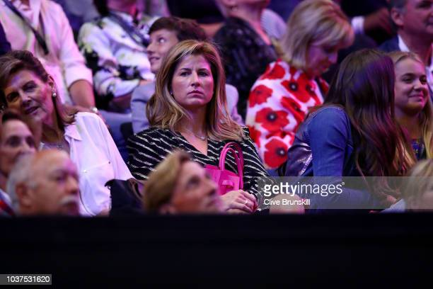 Mirka Federer attends day one of the 2018 Laver Cup at the United Center on September 21 2018 in Chicago Illinois
