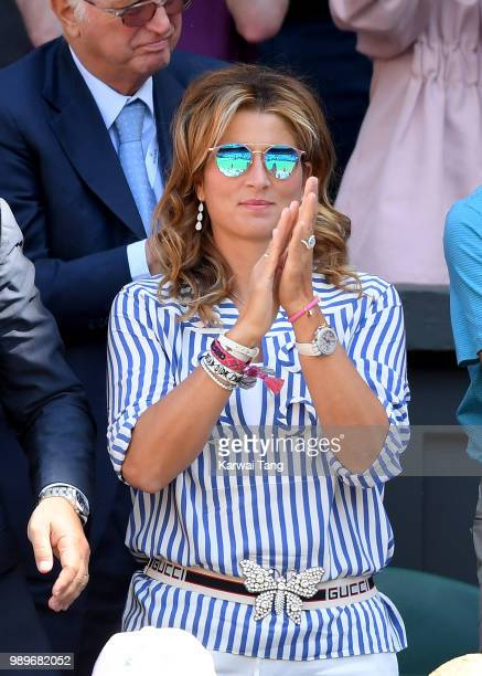 Mirka Federer attends day one of the Wimbledon Tennis Championships at the All England Lawn Tennis and Croquet Club on July 2 2018 in London England