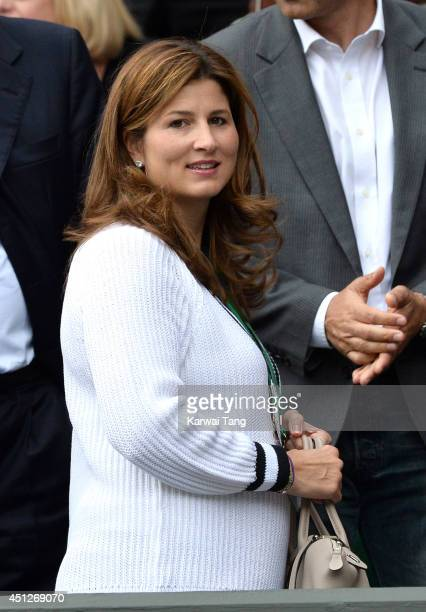 Mirka Federer attends the Gilles Muller v Roger Federer match on centre court during day four of the Wimbledon Championships at Wimbledon on June 26...