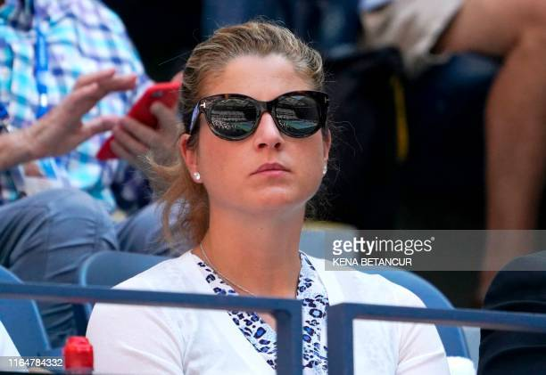 Mirka Federer attends the match of Roger Federer of Switzerland against Daniel Evans of Great Britain during their Round Three Men's Singles match at...