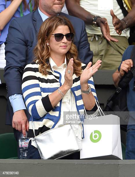 Mirka Federer attends the Sam Querry v Roger Federer match on day four of the Wimbledon Tennis Championships at Wimbledon on July 2, 2015 in London,...