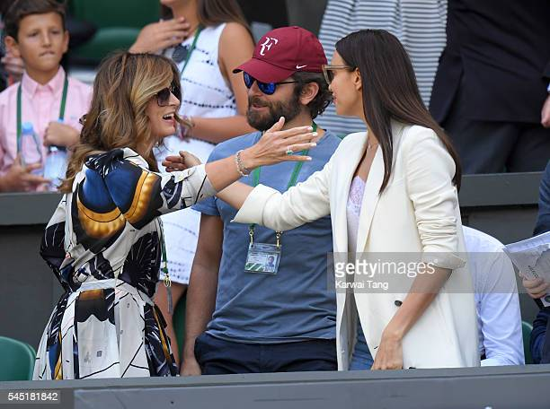 Mirka Federer Bradley Cooper and Irina Shayk attend day nine of the Wimbledon Tennis Championships at Wimbledon on July 06 2016 in London England