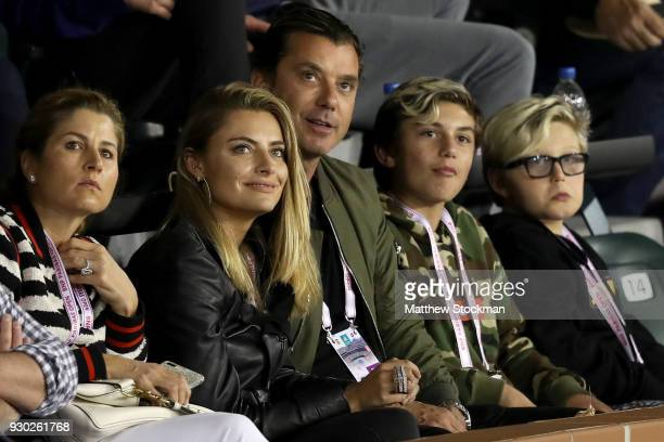 Mirka Federer Gavin Rossdale Sophia Thomalla Kingston Rossdale and Zuma Rock Nesta Rock Rossdale watch Roger Federer of Switzerland play Federico...