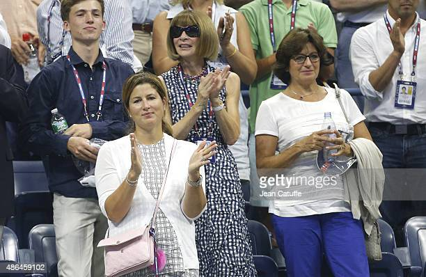 Mirka Federer Roger Federer's wife Anna Wintour and Lynette Federer his mother attend Federer's match during day four of the 2015 US Open at USTA...