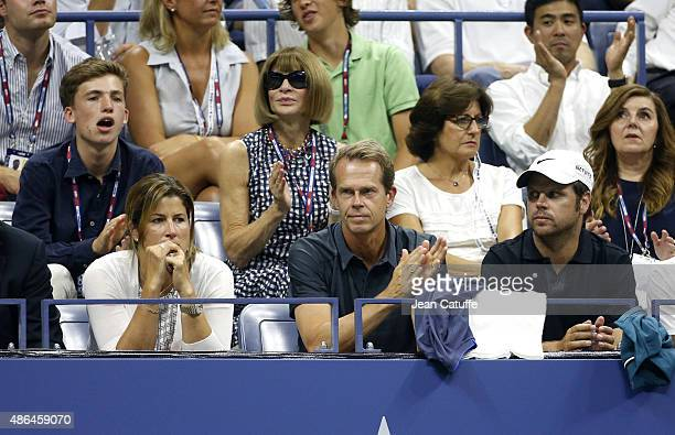 Mirka Federer Roger Federer's wife Stefan Edberg his head coach Severin Luthi his coach above them Anna Wintour and Lynette Federer his mother attend...