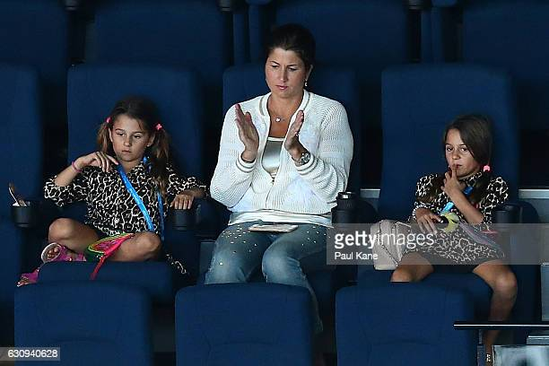 Mirka Federer together with her daughters Myla Rose and Charlene Riva watch the men's singles match between Roger Federer of Switzerland and...