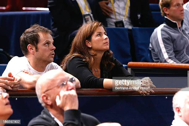 Mirka Federer watches her husband Roger Federer play during day five of BNP Paribas Tennis Masters held at Bercy on November 1 2013 in Paris France