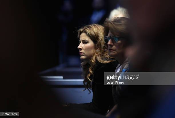 Mirka Federer watches on as Roger Federer of Switzerland plays David Goffin of Belgium during day seven of the Nitto ATP World Tour Finals tennis at...