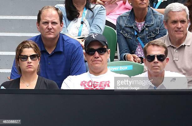 Mirka Federer wife of Roger Federer of Switzerland and his coach Stefan Edberg watch him in his third round match against Teymuraz Gabashvili of...