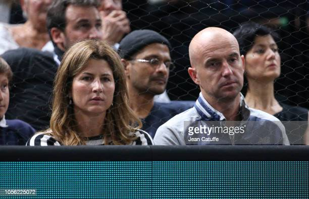 Mirka Federer, wife of Roger Federer of Switzerland, Ivan Ljubicic, coach of Federer during Day 4 of the Rolex Paris Masters at the AccorHotels Arena...