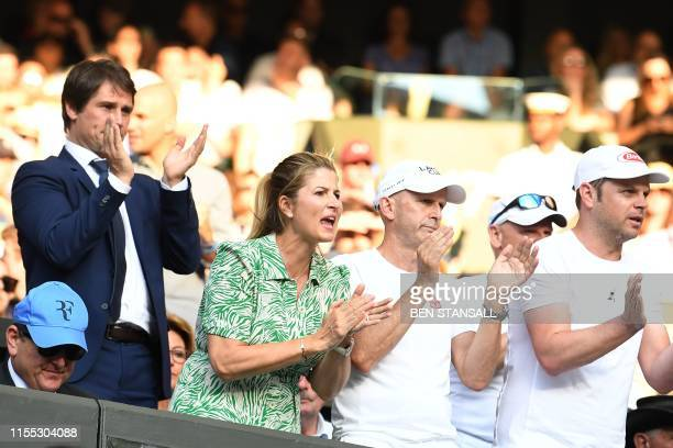 Mirka Federer wife of Roger Federer reacts in the family box as Switzerland's Roger Federer plays against Spain's Rafael Nadal during their men's...