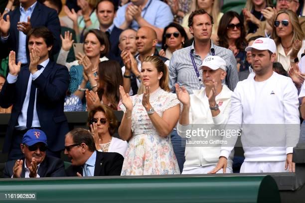 Mirka Federer wife of Roger Federer shows her support in the Men's Singles final between Roger Federer of Switzerland and Novak Djokovic of Serbia...