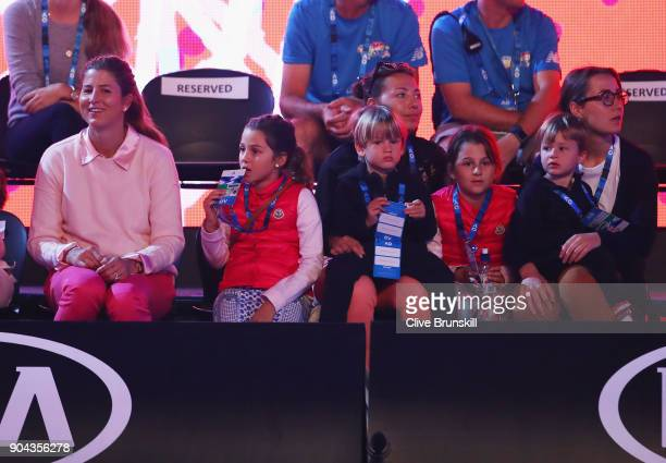 Mirka Federer wife of Roger Federer watches her husband take part in the annual Kids Tennis Day also watched by his four children Myla Rose...