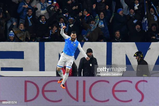 Mirko Antenucci of Spal celebrates after scoring the 22 goal during the Serie A match between Spal and Hellas Verona FC at Stadio Paolo Mazza on...