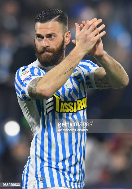 Mirko Antenucci of Spal celebrates after the serie A match between Spal and Juventus at Stadio Paolo Mazza on March 17 2018 in Ferrara Italy