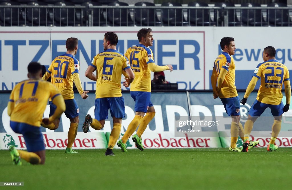 Mirko Boland (2R) of Braunschweig celebrates his team's first goal with team mates during the Second Bundesliga match between SV Sandhausen and Eintracht Braunschweig at Hardtwaldstadion on February 24, 2017 in Sandhausen, Germany.