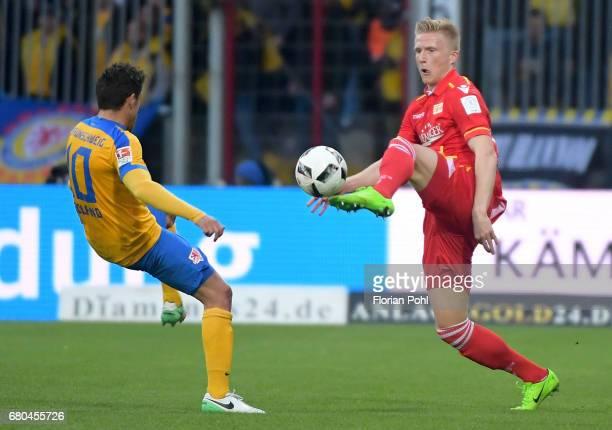 Mirko Boland of Eintracht Braunschweig and Kristian Pedersen of 1 FC Union Berlin during the game between Eintracht Braunschweig and dem 1 FC Union...