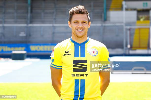 Mirko Boland of Eintracht Braunschweig poses during the official team presentation of Eintracht Braunschweig at Eintracht Stadion on July 3 2017 in...