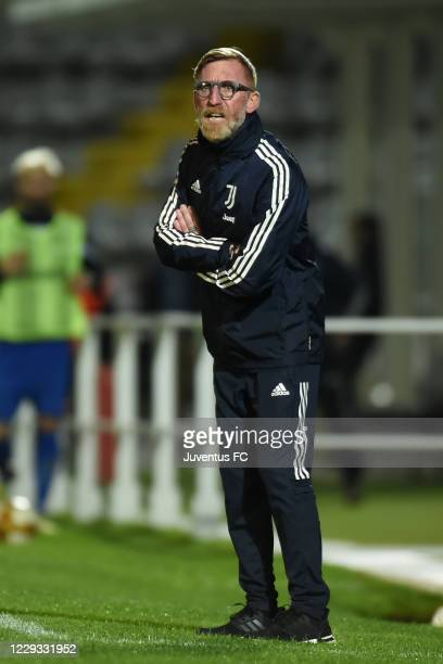 Mirko Conte Head Coach of Juventus U23 looks on during the Serie C match between Juventus U23 and Como at Stadio Giuseppe Moccagatta on October 28,...