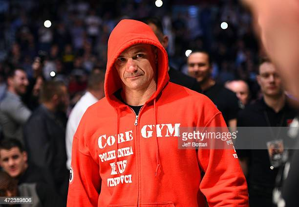 Mirko Cro Cop enters the arena before facing Gabriel Gonzaga in their heavyweight fight during the UFC Fight Night event at the Tauron Arena on April...