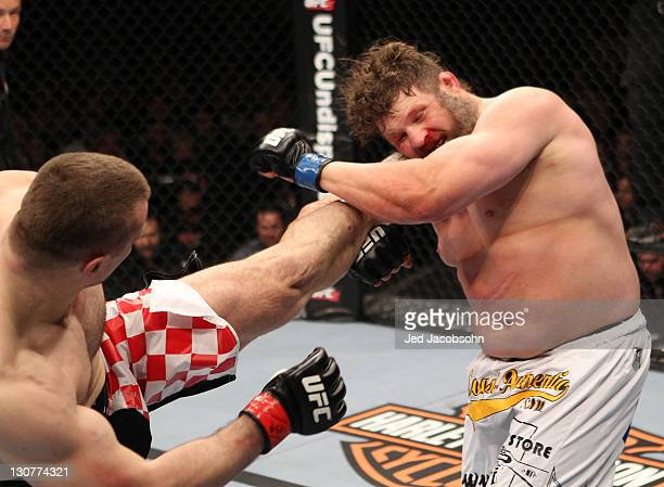 Mirko Cro Cop kicks Roy Nelson during the UFC 137 event at the Mandalay Bay Events Center on October 29 2011 in Las Vegas Nevada
